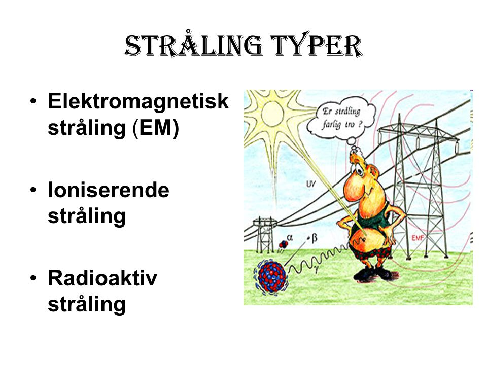 stråling Typer Elektromagnetisk stråling (EM) Ioniserende stråling