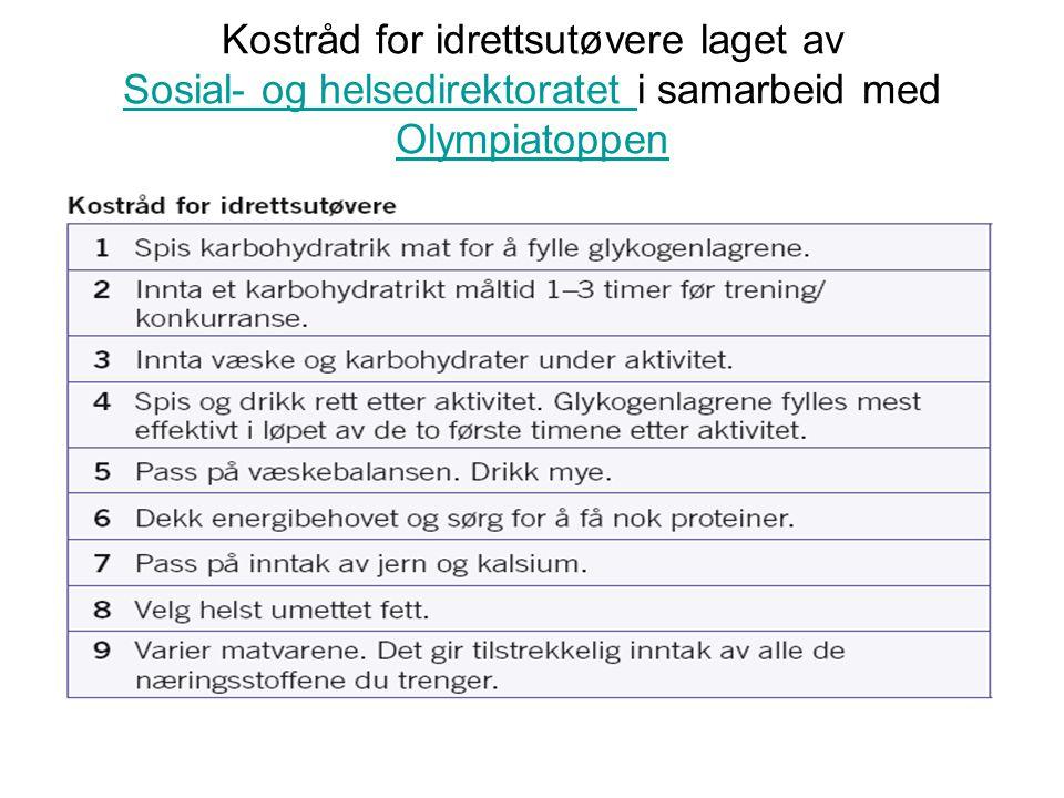 Kostråd for idrettsutøvere laget av Sosial- og helsedirektoratet i samarbeid med Olympiatoppen