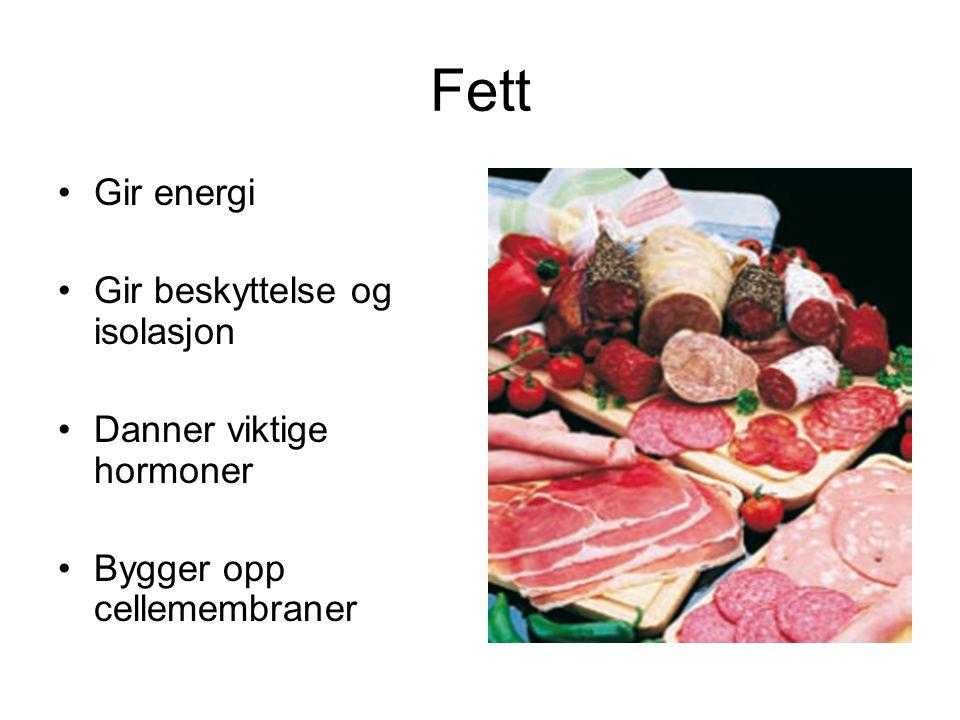 Fett Gir energi Gir beskyttelse og isolasjon Danner viktige hormoner
