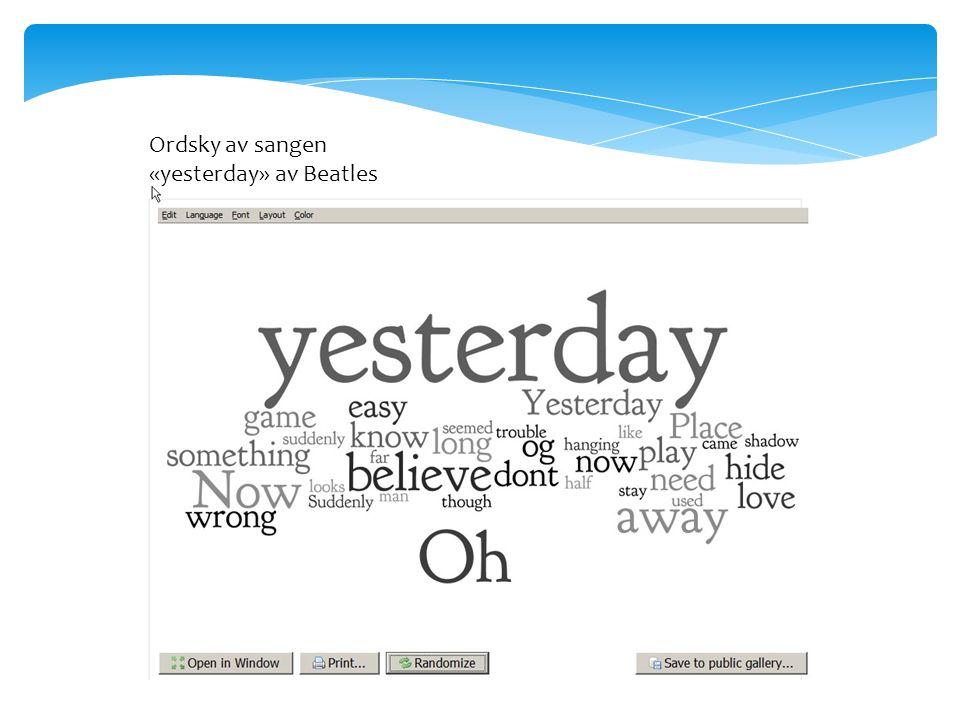 Ordsky av sangen «yesterday» av Beatles