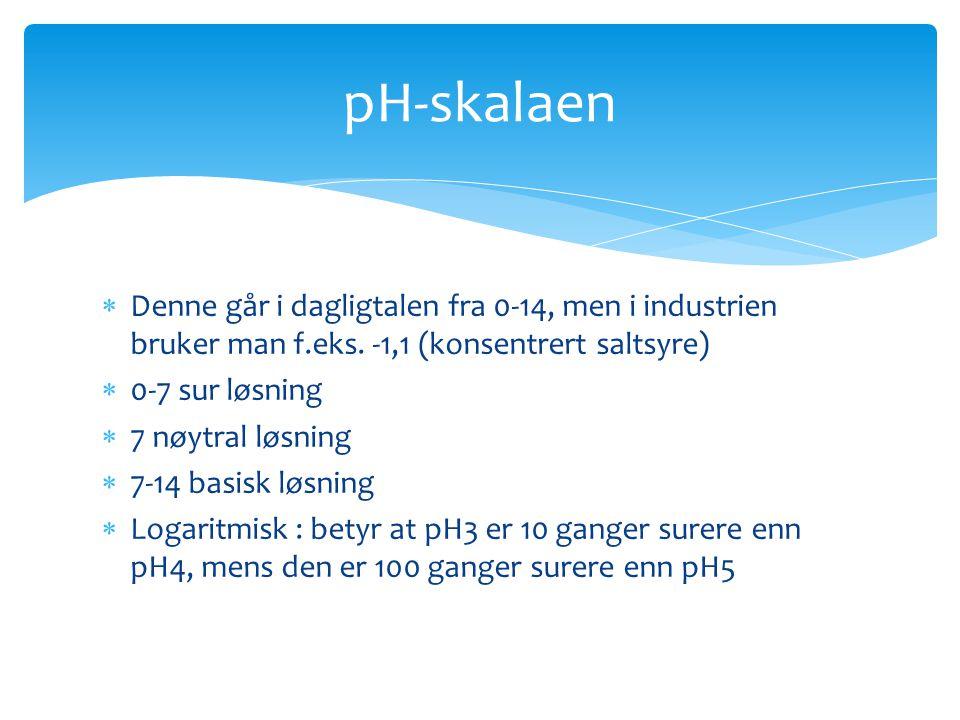pH-skalaen Denne går i dagligtalen fra 0-14, men i industrien bruker man f.eks. -1,1 (konsentrert saltsyre)