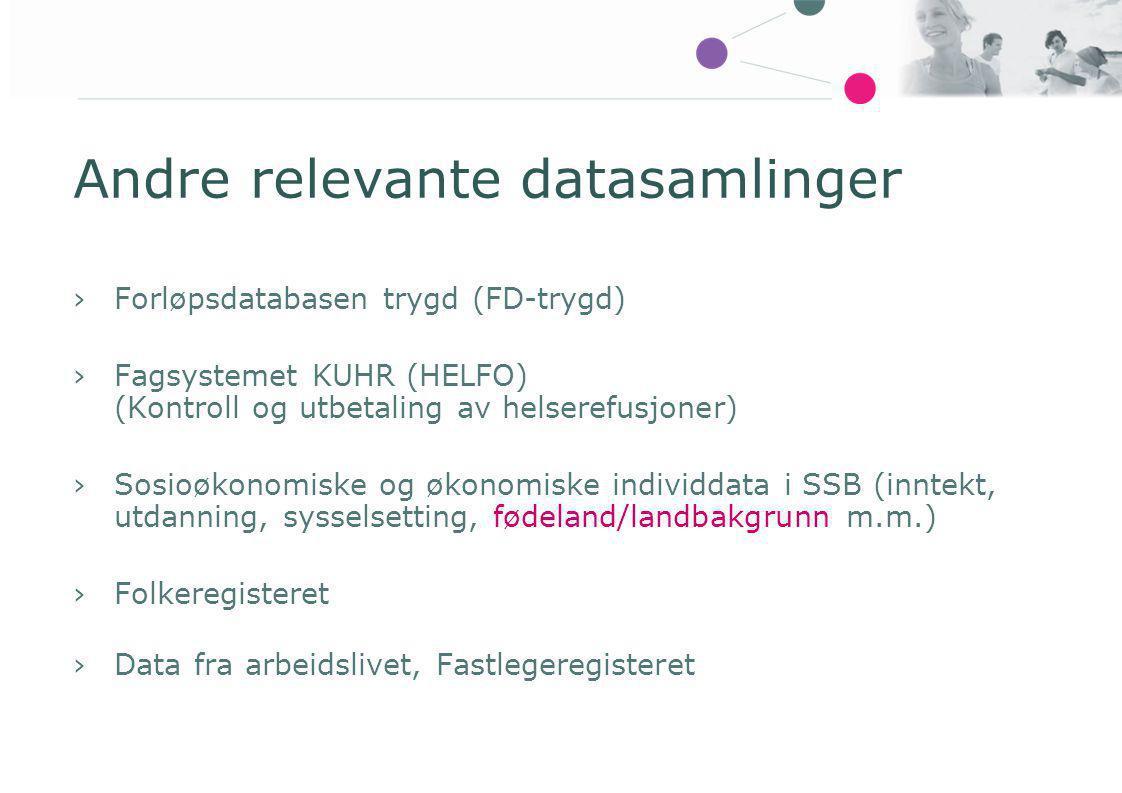 Andre relevante datasamlinger
