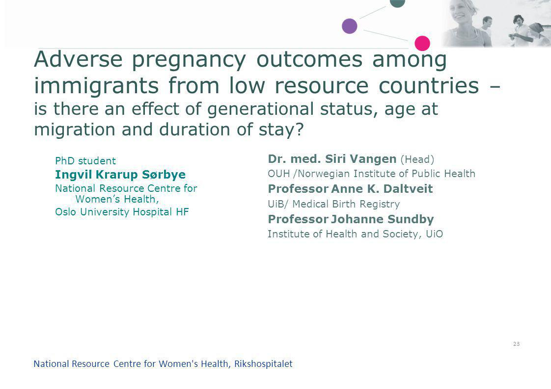 Adverse pregnancy outcomes among immigrants from low resource countries – is there an effect of generational status, age at migration and duration of stay