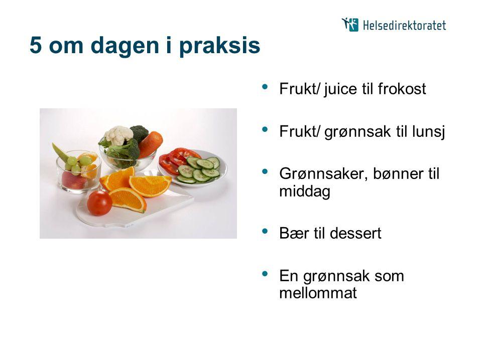 5 om dagen i praksis Frukt/ juice til frokost