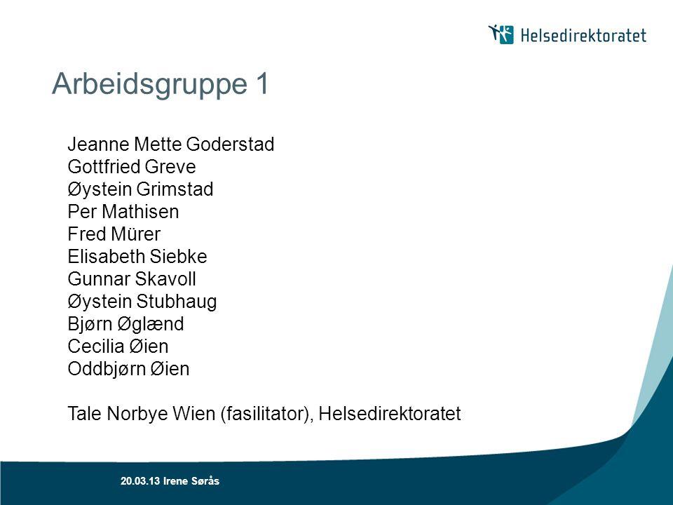 Arbeidsgruppe 1 Jeanne Mette Goderstad Gottfried Greve