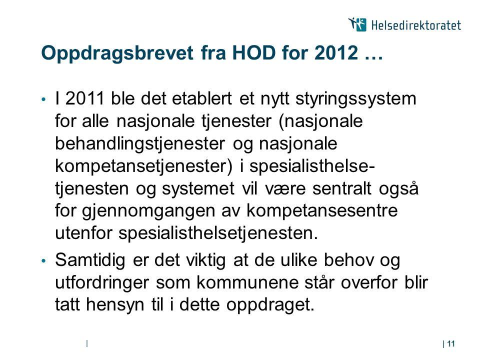Oppdragsbrevet fra HOD for 2012 …