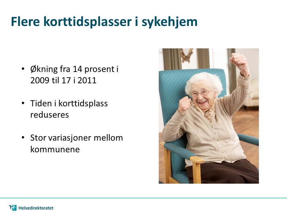 Flere korttidsplasser i sykehjem