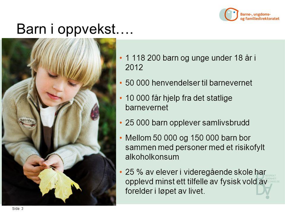 Barn i oppvekst…. 1 118 200 barn og unge under 18 år i 2012