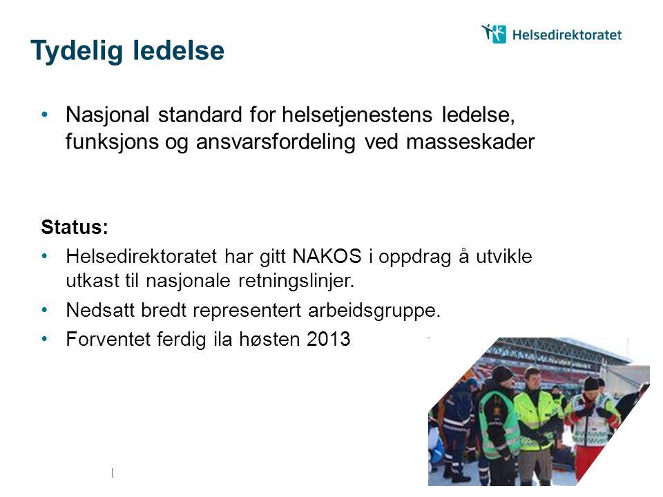 Tydelig ledelse Nasjonal standard for helsetjenestens ledelse, funksjons og ansvarsfordeling ved masseskader.