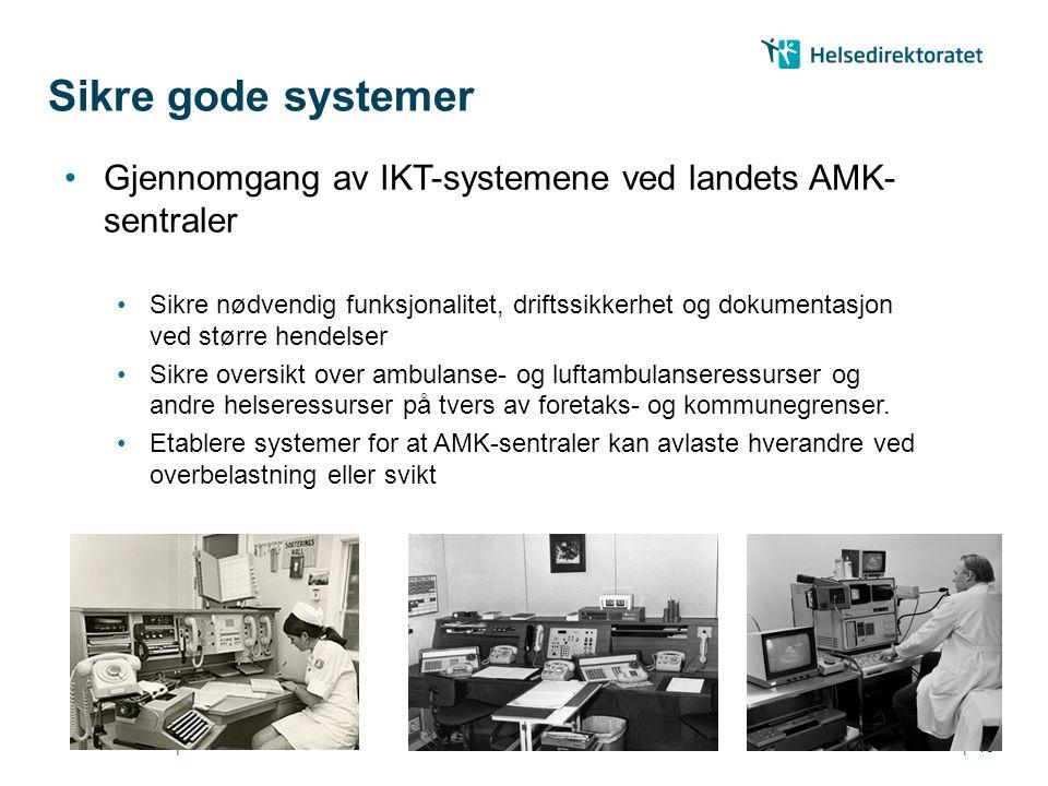 Sikre gode systemer Gjennomgang av IKT-systemene ved landets AMK-sentraler.