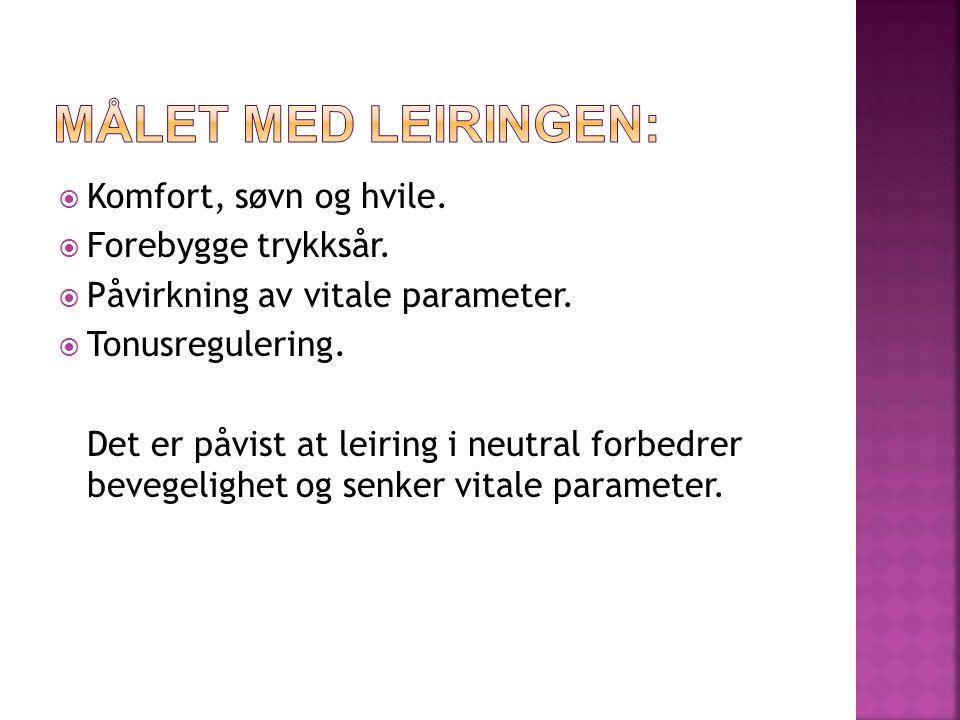 Målet med Leiringen: Komfort, søvn og hvile. Forebygge trykksår.