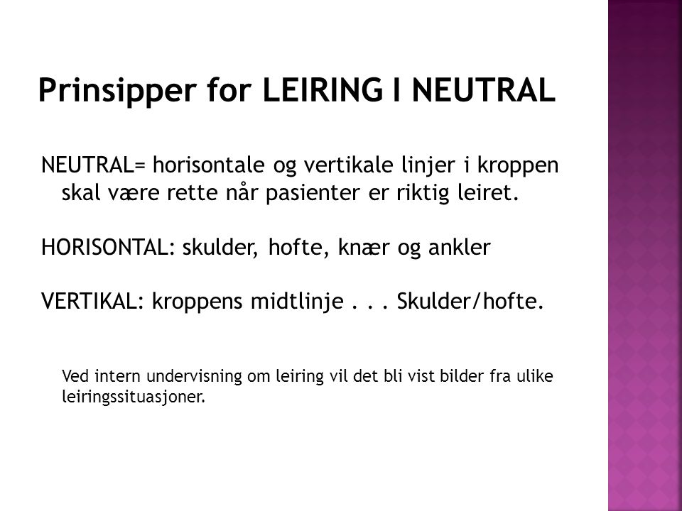Prinsipper for LEIRING I NEUTRAL