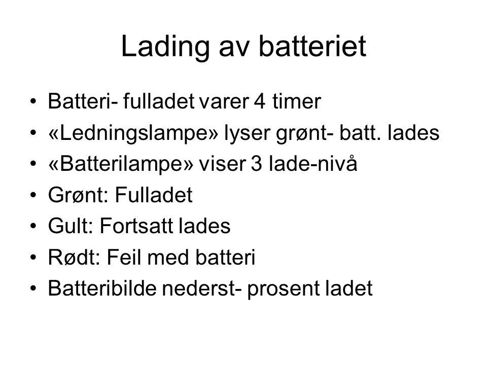 Lading av batteriet Batteri- fulladet varer 4 timer