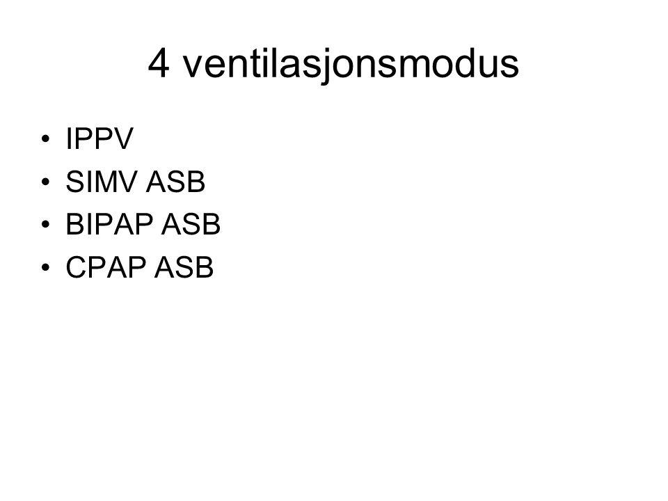 4 ventilasjonsmodus IPPV SIMV ASB BIPAP ASB CPAP ASB