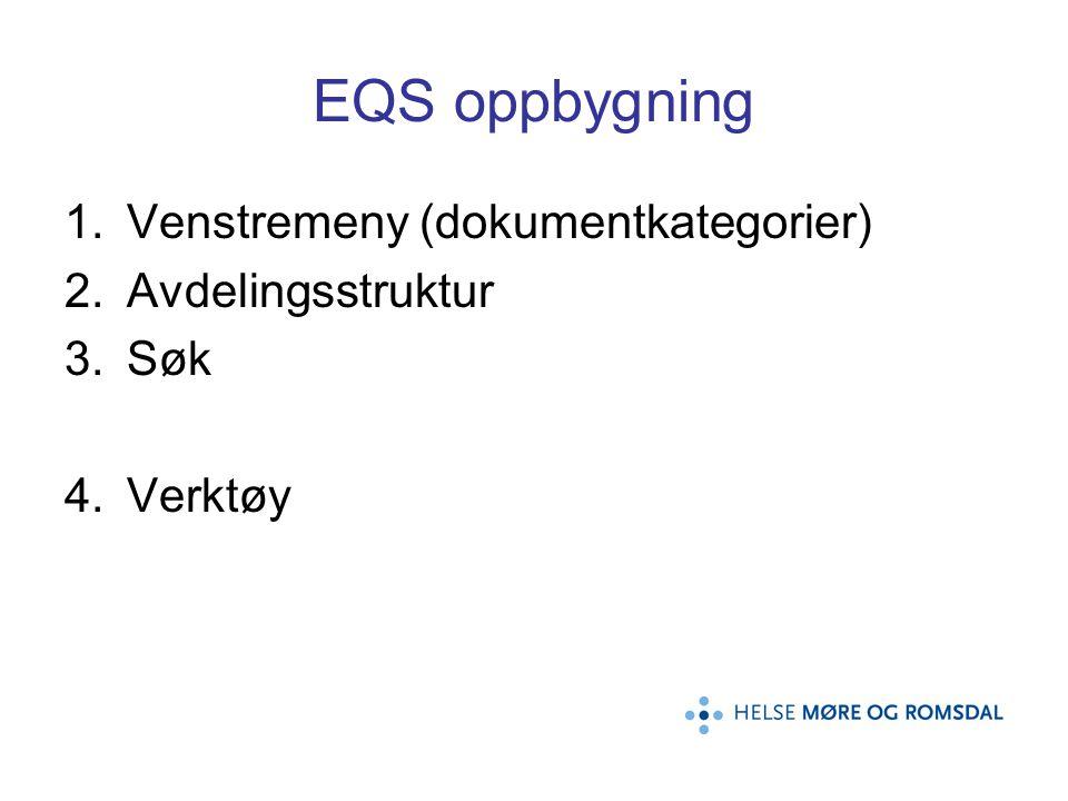 EQS oppbygning Venstremeny (dokumentkategorier) Avdelingsstruktur Søk