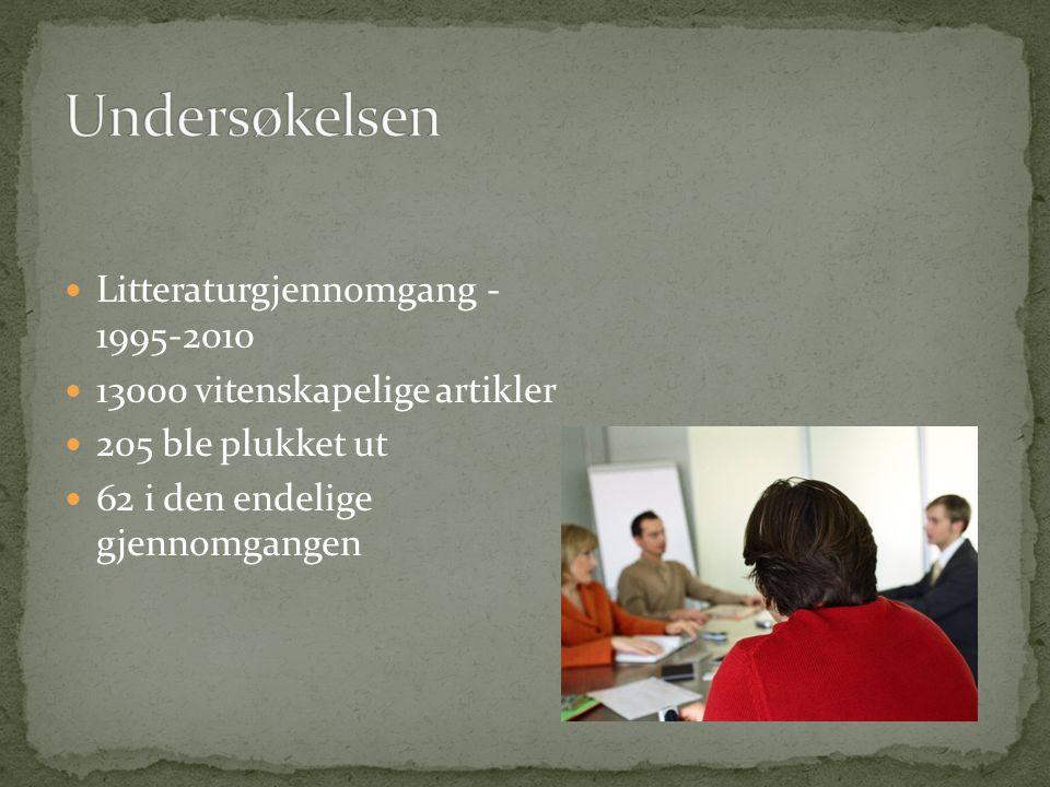 Undersøkelsen Litteraturgjennomgang - 1995-2010