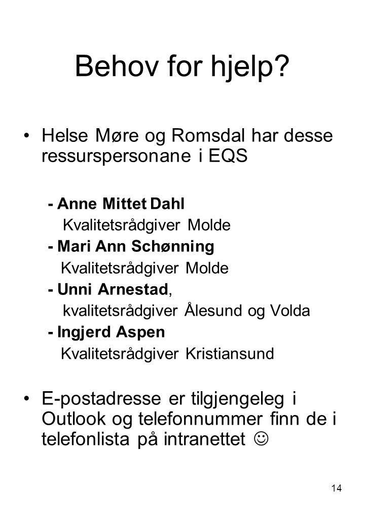 Behov for hjelp Helse Møre og Romsdal har desse ressurspersonane i EQS. - Anne Mittet Dahl. Kvalitetsrådgiver Molde.