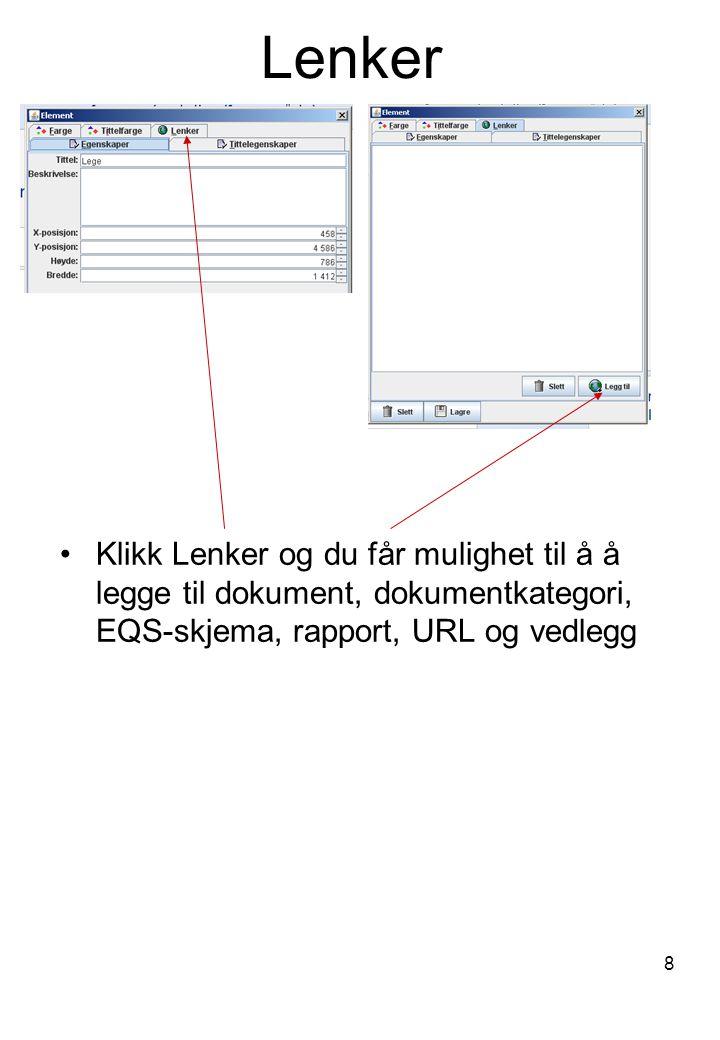 Lenker Klikk Lenker og du får mulighet til å å legge til dokument, dokumentkategori, EQS-skjema, rapport, URL og vedlegg.