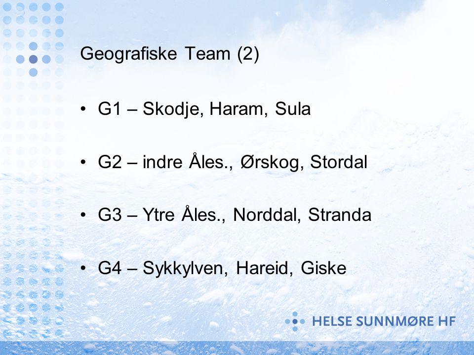 Geografiske Team (2) G1 – Skodje, Haram, Sula. G2 – indre Åles., Ørskog, Stordal. G3 – Ytre Åles., Norddal, Stranda.