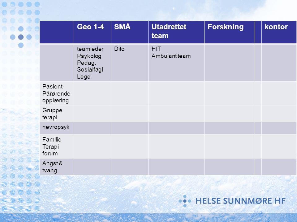 Geo 1-4 SMÅ Utadrettet team Forskning kontor teamleder Psykolog Pedag.