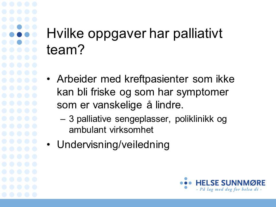 Hvilke oppgaver har palliativt team
