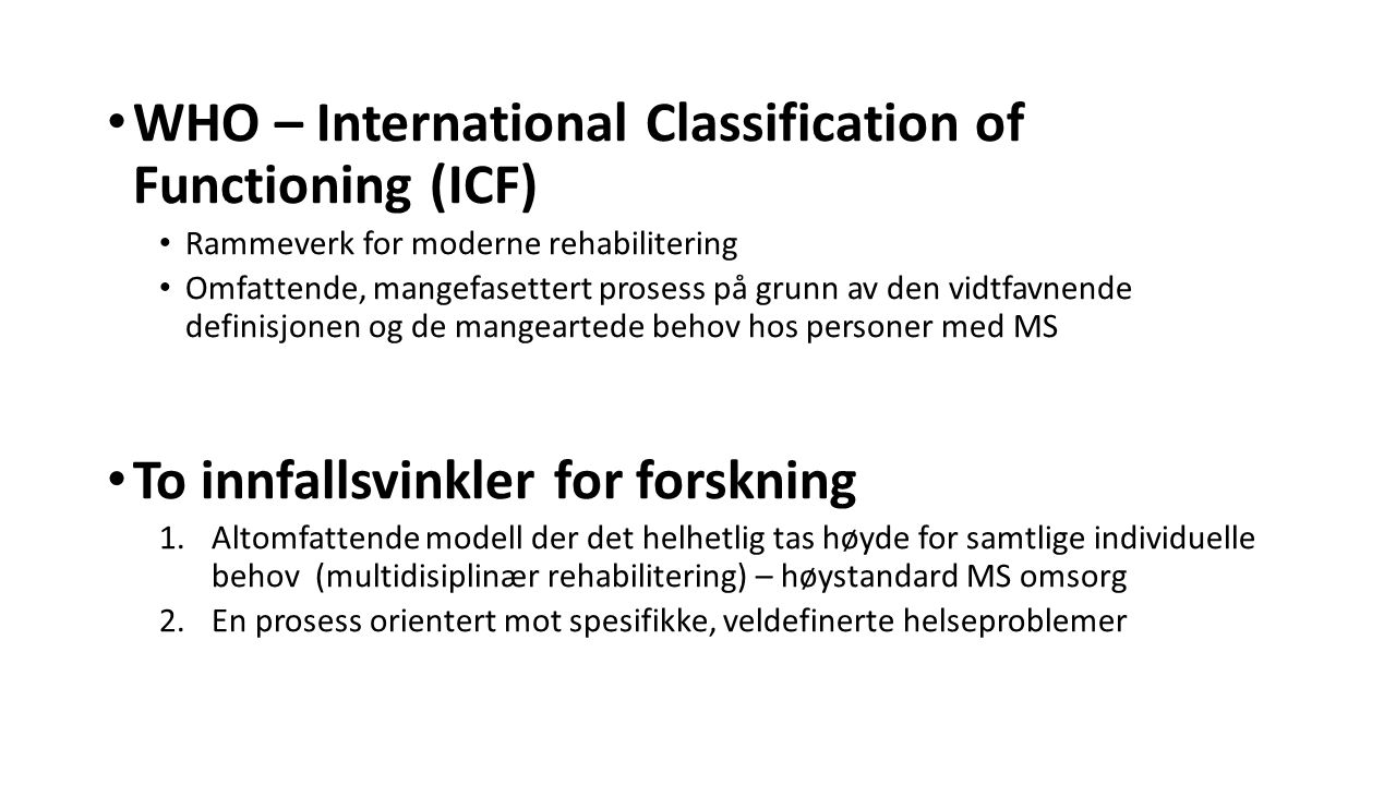 WHO – International Classification of Functioning (ICF)