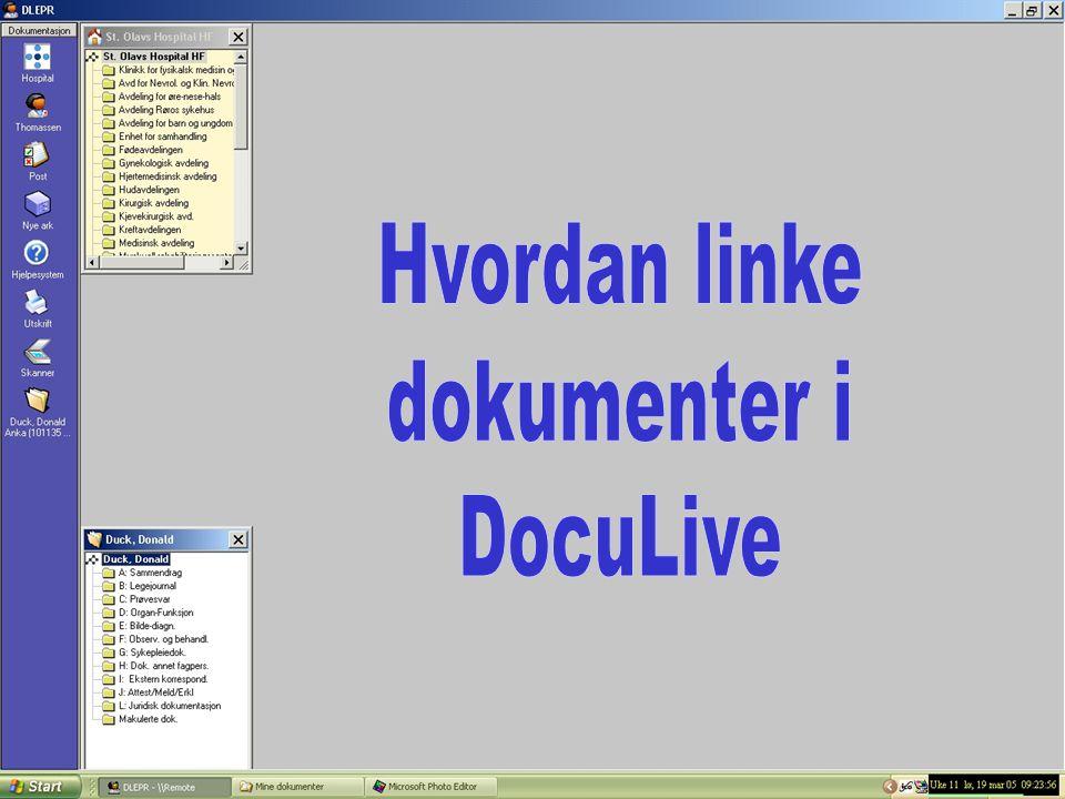 Hvordan linke dokumenter i DocuLive