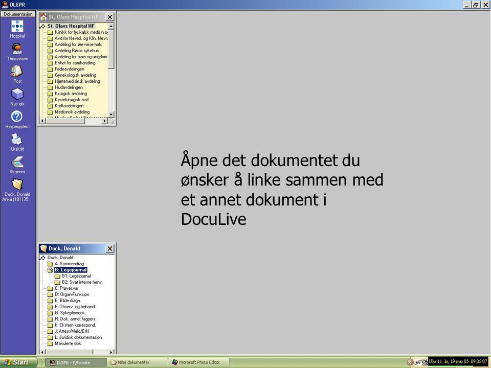 Åpne det dokumentet du ønsker å linke sammen med et annet dokument i DocuLive