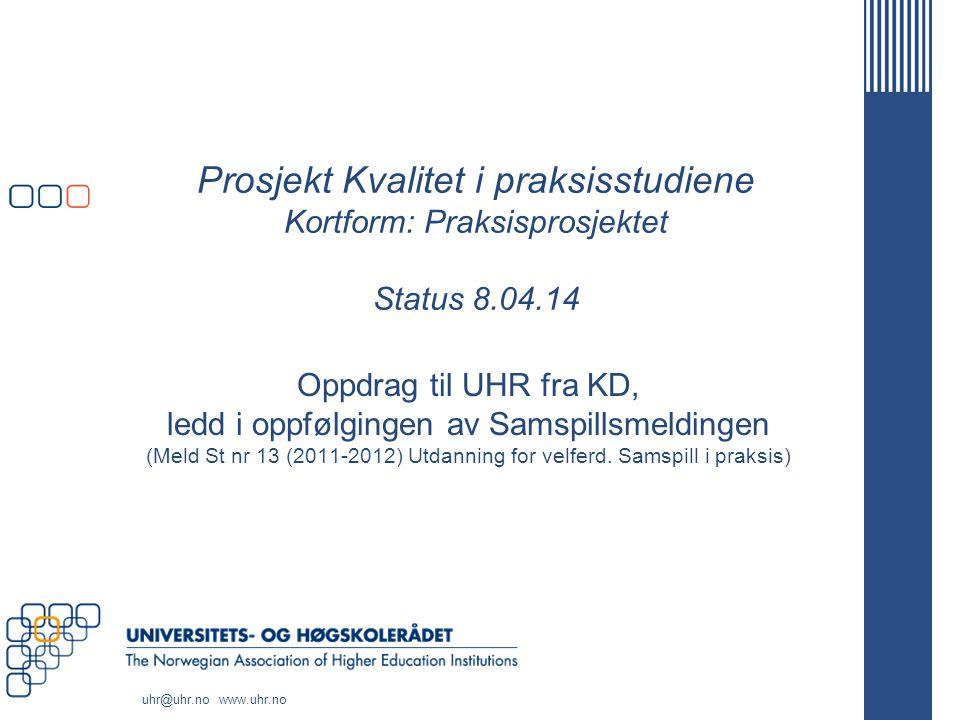 Prosjekt Kvalitet i praksisstudiene Kortform: Praksisprosjektet Status 8.04.14