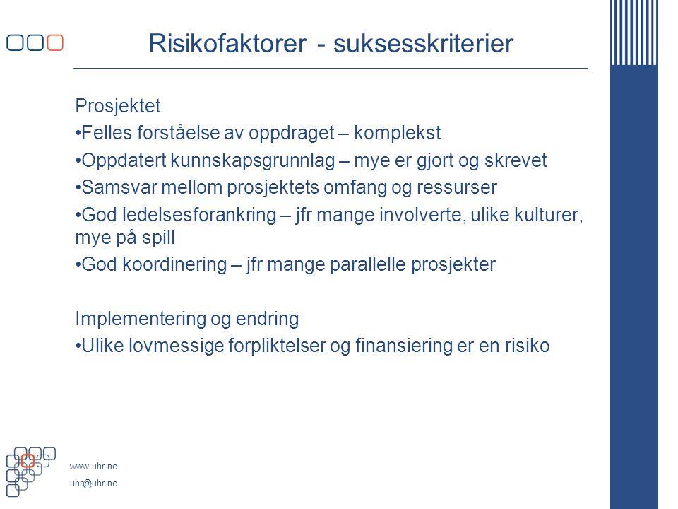 Risikofaktorer - suksesskriterier