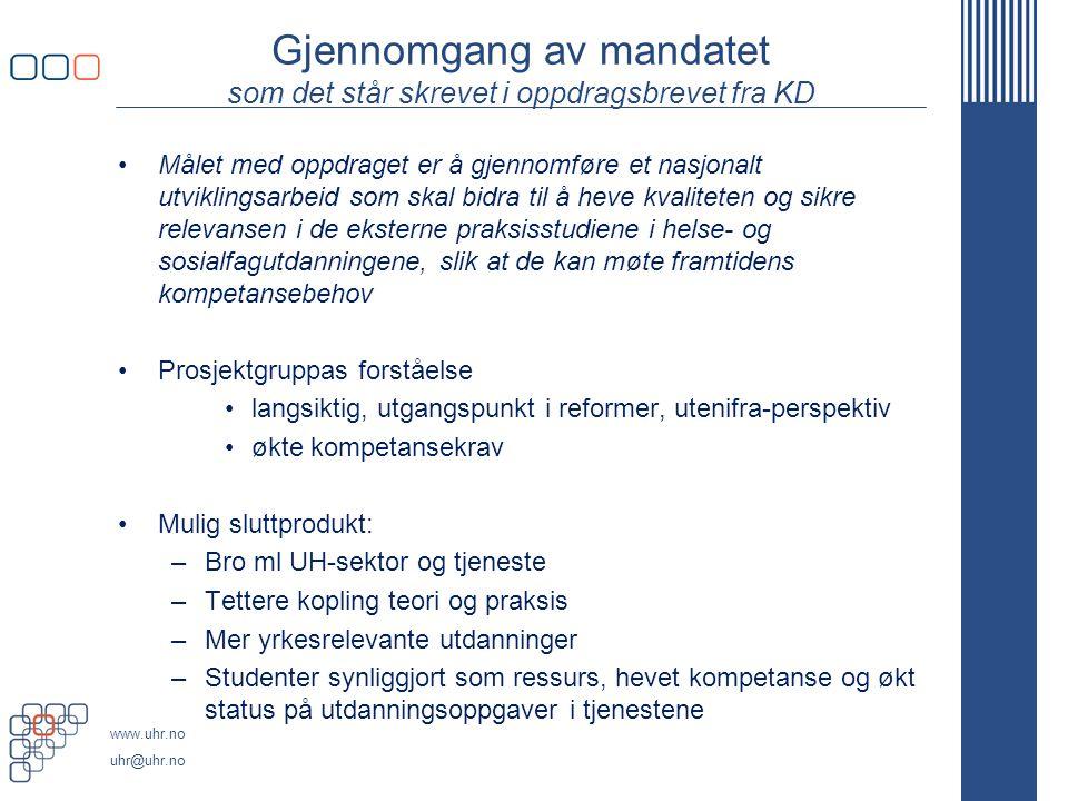 Gjennomgang av mandatet som det står skrevet i oppdragsbrevet fra KD