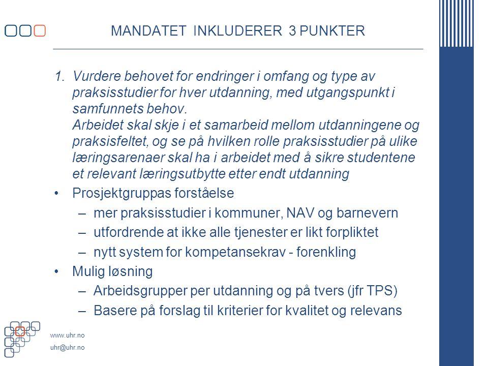 MANDATET INKLUDERER 3 PUNKTER