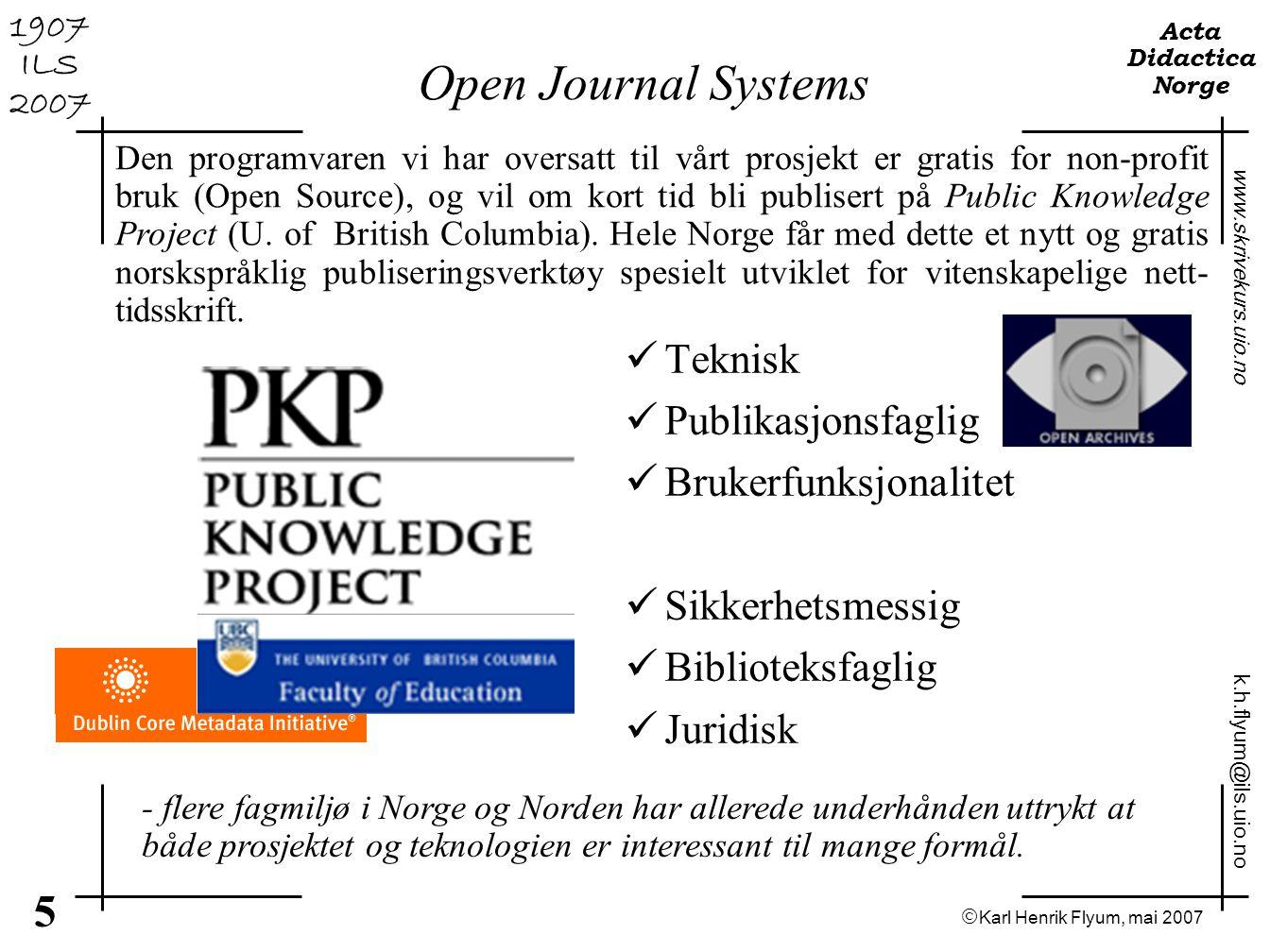 Open Journal Systems Teknisk Publikasjonsfaglig Brukerfunksjonalitet
