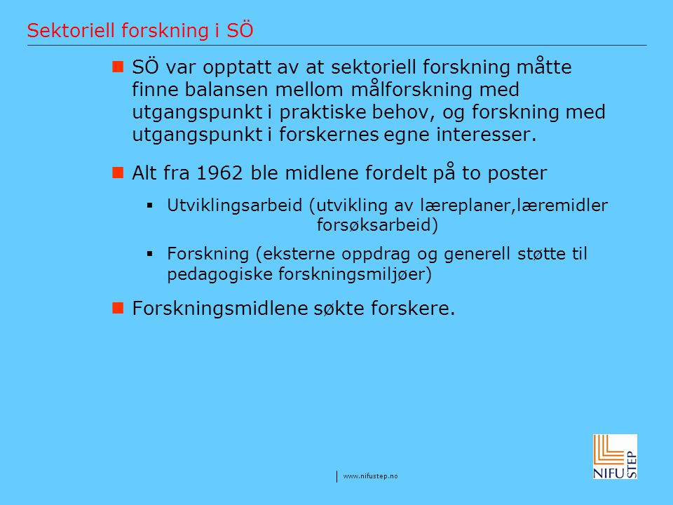 Sektoriell forskning i SÖ