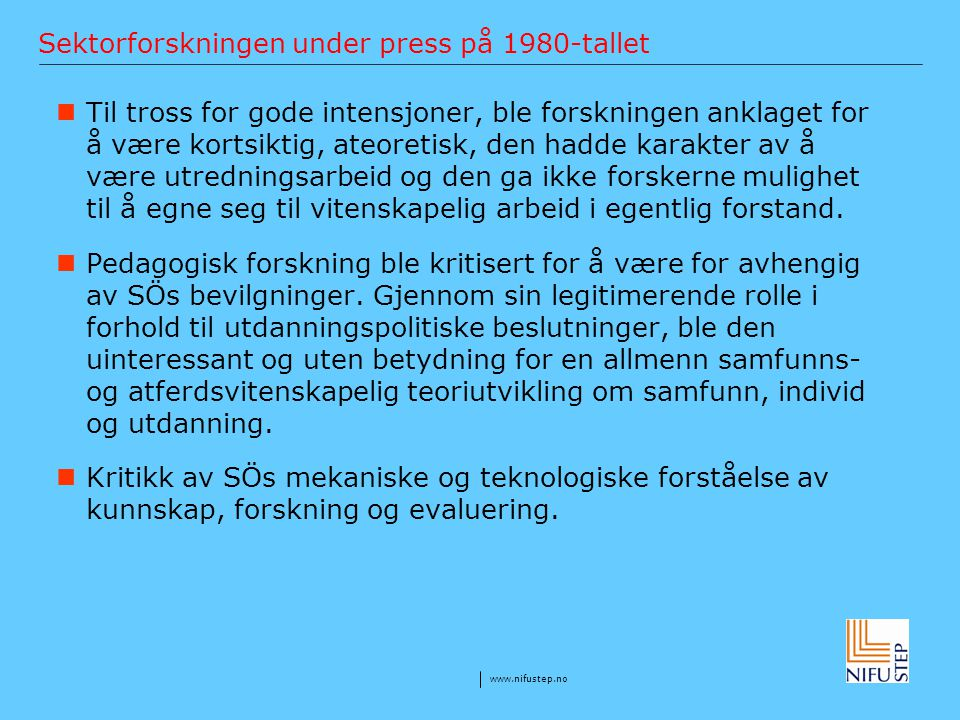 Sektorforskningen under press på 1980-tallet
