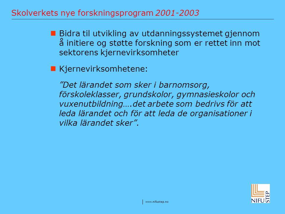 Skolverkets nye forskningsprogram 2001-2003
