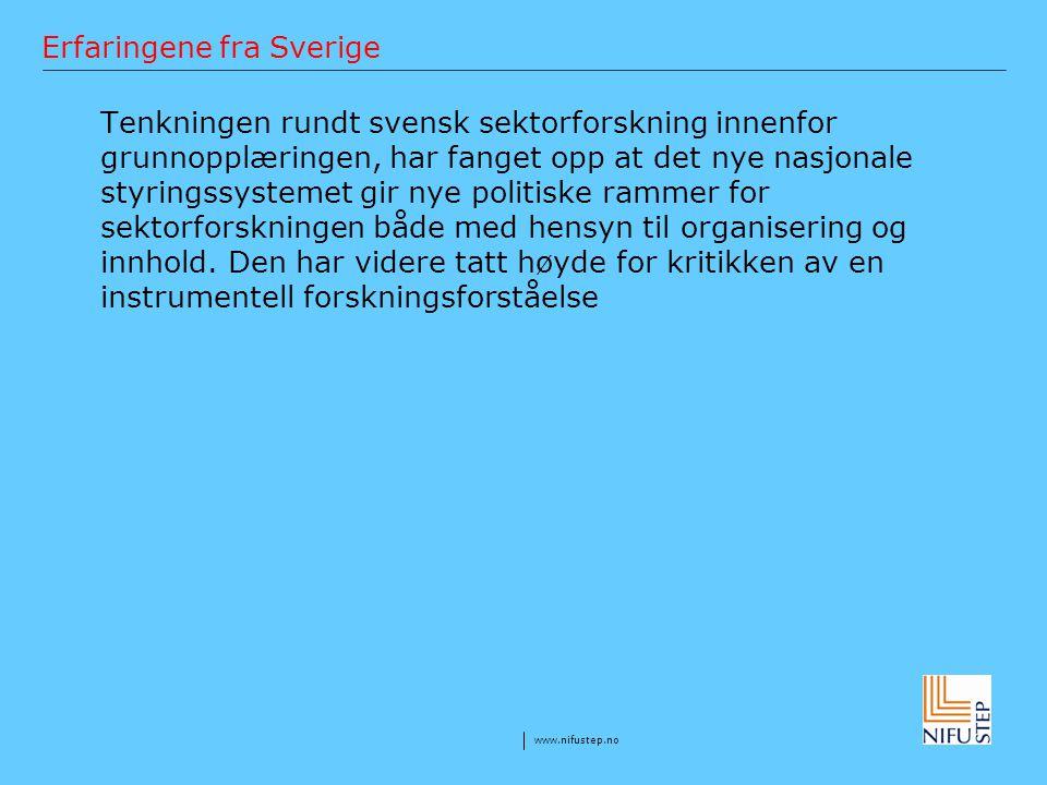 Erfaringene fra Sverige