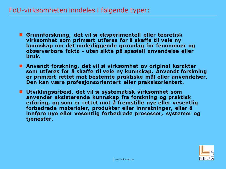 FoU-virksomheten inndeles i følgende typer: