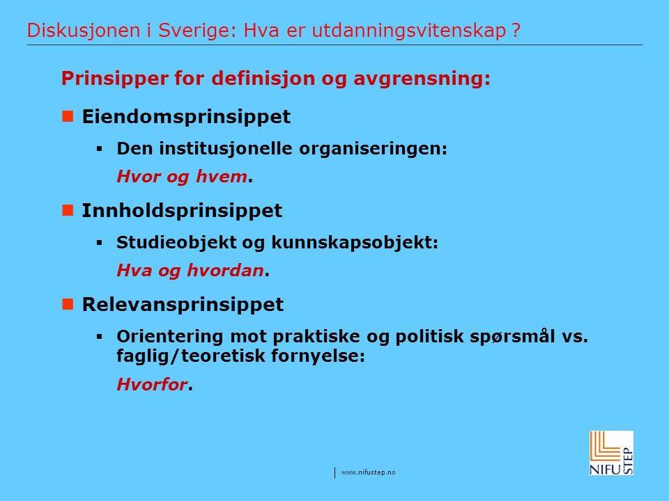 Diskusjonen i Sverige: Hva er utdanningsvitenskap
