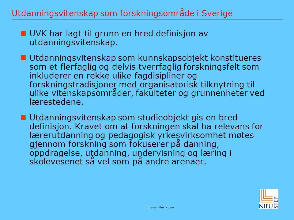 Utdanningsvitenskap som forskningsområde i Sverige