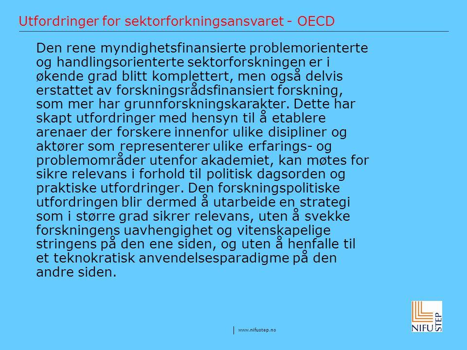 Utfordringer for sektorforkningsansvaret - OECD