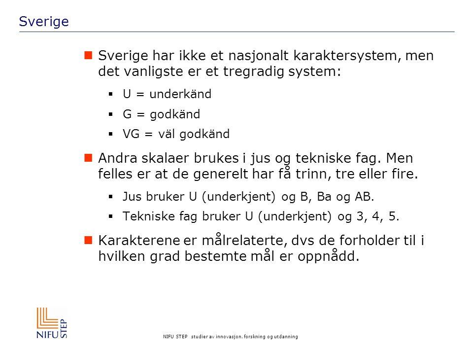 Sverige Sverige har ikke et nasjonalt karaktersystem, men det vanligste er et tregradig system: U = underkänd.