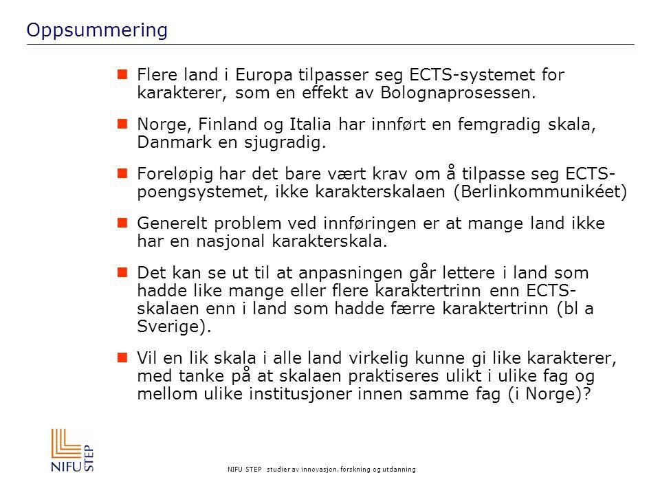 Oppsummering Flere land i Europa tilpasser seg ECTS-systemet for karakterer, som en effekt av Bolognaprosessen.