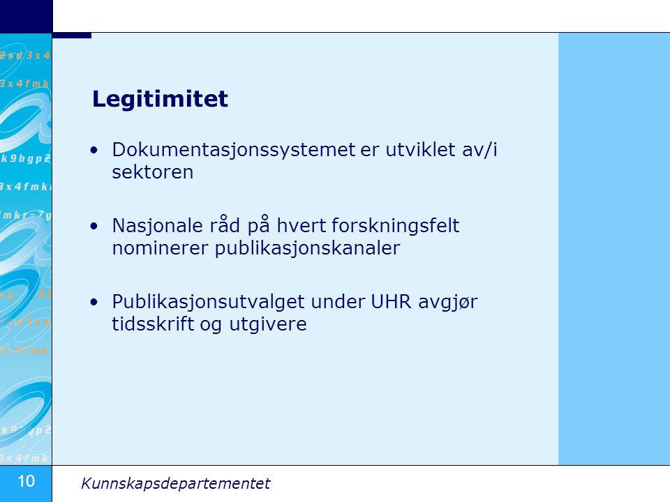 Legitimitet Dokumentasjonssystemet er utviklet av/i sektoren