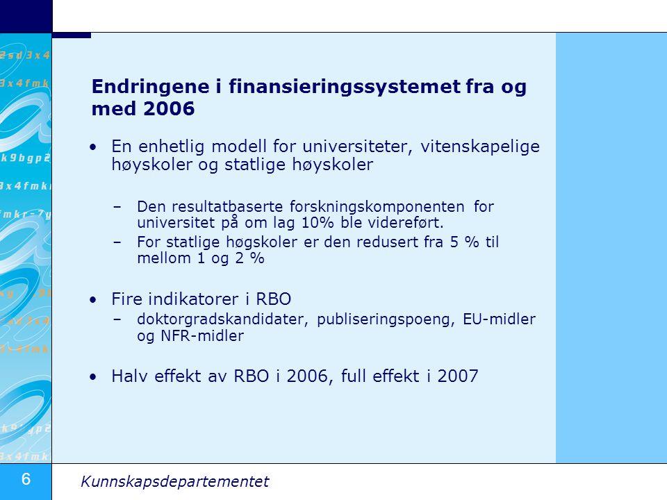 Endringene i finansieringssystemet fra og med 2006