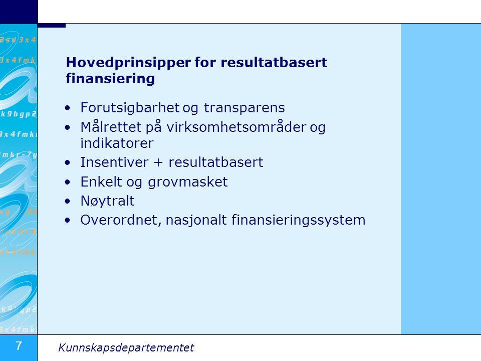 Hovedprinsipper for resultatbasert finansiering