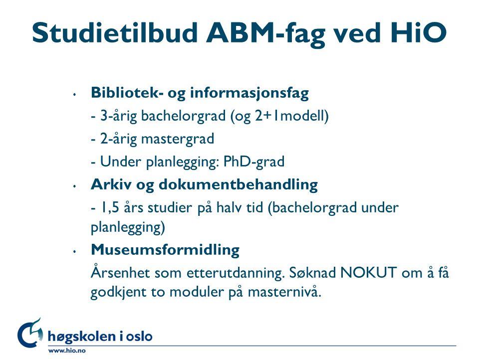Studietilbud ABM-fag ved HiO
