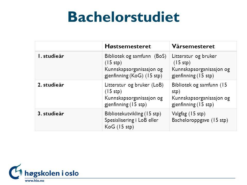 Bachelorstudiet Høstsemesteret Vårsemesteret 1. studieår