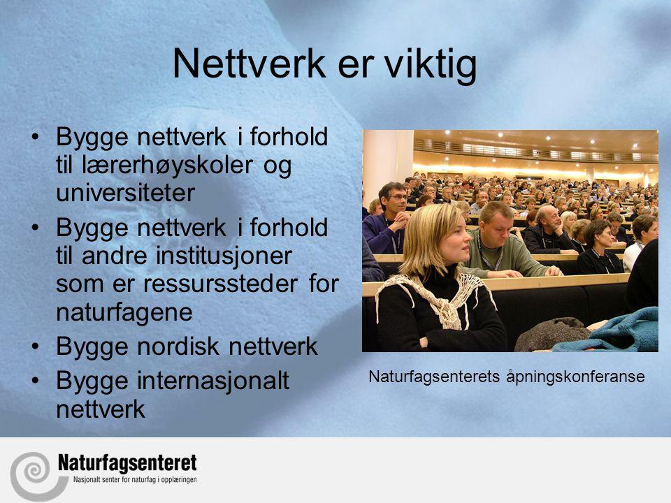 Nettverk er viktig Bygge nettverk i forhold til lærerhøyskoler og universiteter.