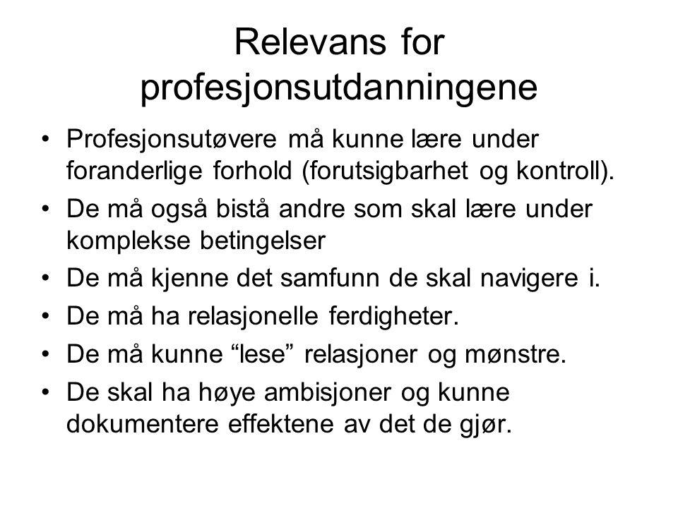 Relevans for profesjonsutdanningene